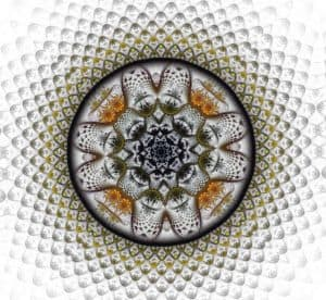 non-judgment transcension maturity gray-gold on white mandala